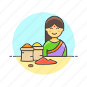 cooking, flavoring, food, merchant, restaurant, spice, woman icon