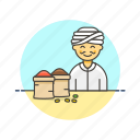 asian, food, male, merchant, spice icon