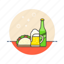 beer, food, mexican, snack, snacks, taco, with icon