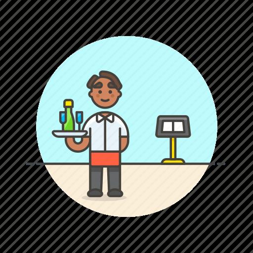 avatar, drink, food, man, person, restaurant, server, waiter icon