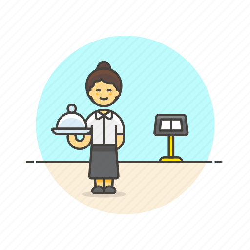food, meal, plate, restaurant, server, waitress, woman icon