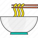 bowl, chopsticks, eat, meal, noddle, restaurant icon