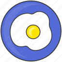 breakfast, dish, eat, egg, fried egg, meal, plate icon