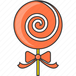 candy, child, lollipop, ribbon, sweet icon