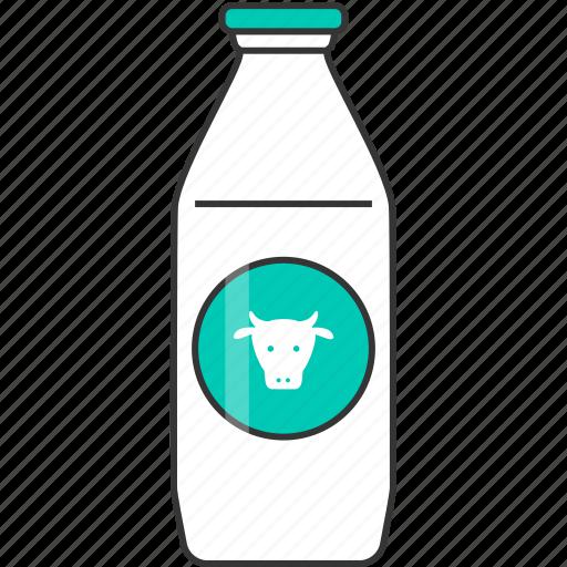 drink, fresh, glass bottle, milk icon