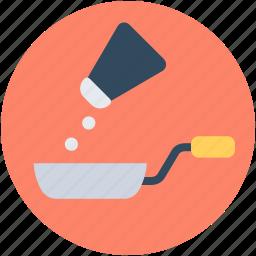 adding salt, cooking, fry pan, saltshaker, seasoning icon