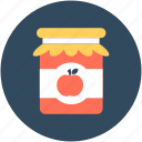 apple jam, apple jelly, jam jar, marmalade, preserved food icon
