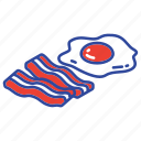 bacon, breakfast, egg, egg and bacon, fast food, food, meal icon