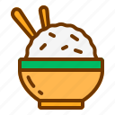 bowl, carbohydrate, chopstick, food, rice icon