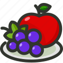 apple, food, fruit, fruits, grapes, plate