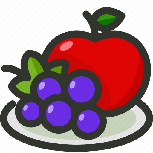 apple, food, fruit, fruits, grapes, plate icon