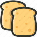 bread, breakfast, food, slices, toast icon
