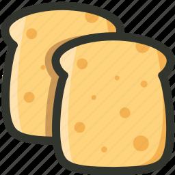 bread, breakfast, food, slices, toast icon