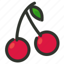 cherries, cherry, food, fruit, organic icon