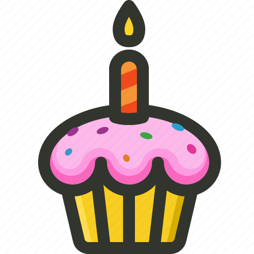 birthday, cake, candle, cup, dessert, muffin, sweet icon