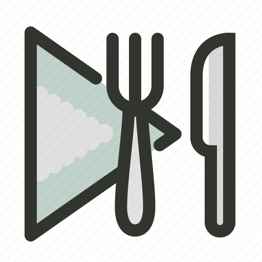 food, fork, knife, napkin, restaurant, tableset icon