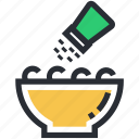 bowl, food, salt shaker, salty food, supper icon