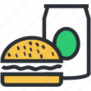 burger, fast food, junk food, soft drink, takeaway food icon