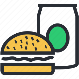 burger, fast food, junk food, soft drink, takeaway food icon