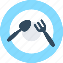 dining, fork, plate, restaurant, spoon