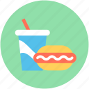 burger, fast food, food, junk food, soft drink icon