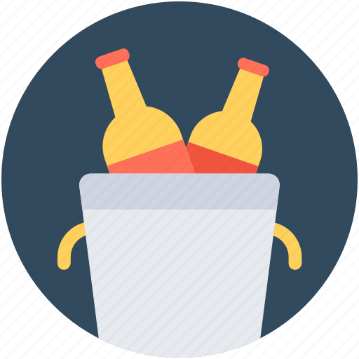 Bucket cooler, champagne bucket, wine bottle, wine bucket, wine cooler icon - Download on Iconfinder