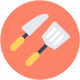 cutlery, kitchen utensils, knife, slotted spatula, turner spoon icon