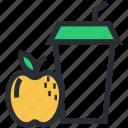 apple juice, disposable glass, fruit juice, healthy juice, straw