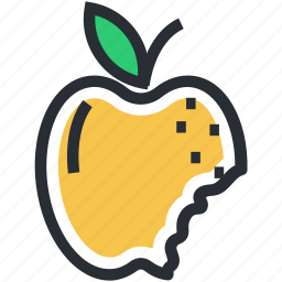 apple with bite, food, fresh food, fruit, healthy diet icon