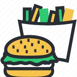 burger, fast food, french fries, junk food, potato chips icon