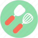 hand whisk, kitchen utensils, spatula, turner spoon, whisk icon
