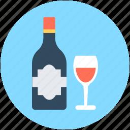 alcohol, beer bottle, wine, wine bottle, wine glass icon