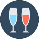 champagne coupe, champagne flute, champagne glasses, drink glasses, wine glasses icon