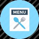 fork, menu