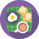 breakfast, coffee, fried egg, tea, toast