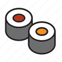 food, japan, japanese, maki, meal, sushi icon