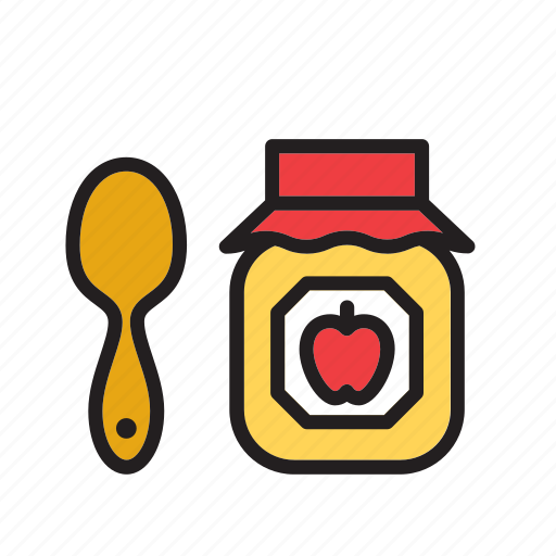 apple, food, fruit, jam, jelly, marmalade, pot icon