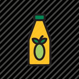 bottle, food, groceries, oil, olive, vegetable icon