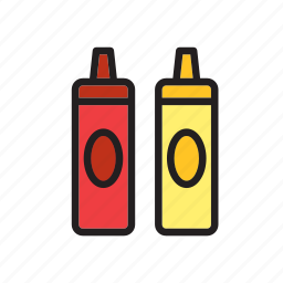 fast, food, groceries, ketchup, mustard, shaker icon