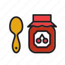 cherry, food, fruit, jam, jelly, marmalade, pot icon