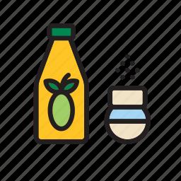 bottle, food, groceries, oil, olive, salt, shaker icon