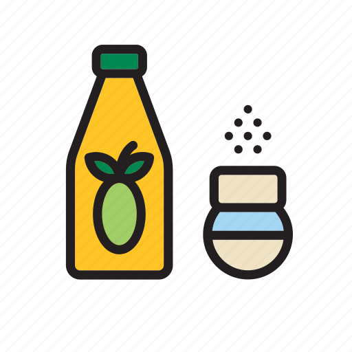bottle, food, groceries, oil, olive, salt, shaker icon