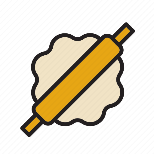 bakery, bread, cooking, dough, food, pastry, roller icon