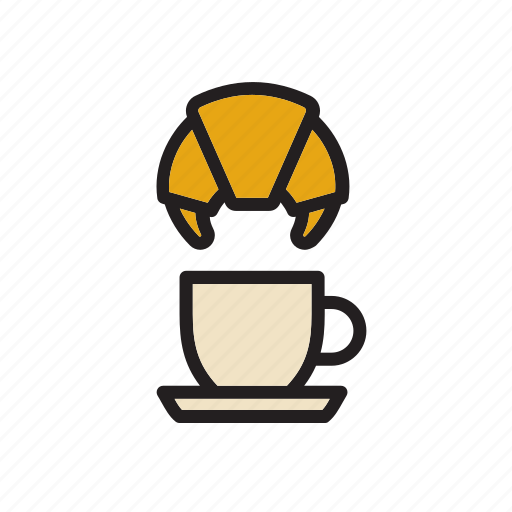 breakfast, cafe, cafeteria, coffee, croissant, cup, food icon