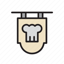 chef, cook, food, hat, poster, restaurant, sign icon