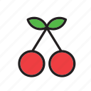 cherries, cherry, food, fruit icon