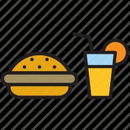 burguer, fast, food, meal, orange squash, orangeade, soda icon