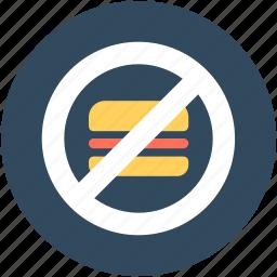 burger restriction, no burger, no fast food, no junk food, unhealthy food icon