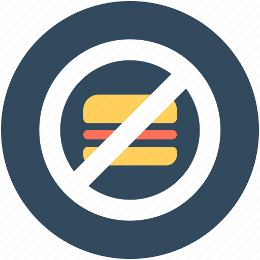 burger restriction, no burger, no fast food, no junk food, unhealthy food icon