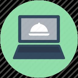 laptop, macbook, online food, online recipe, restaurant website icon